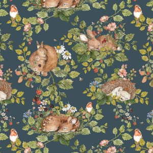 Tapeta Dekornik Little Sleepy Animals Granat DEKO.TAP.021
