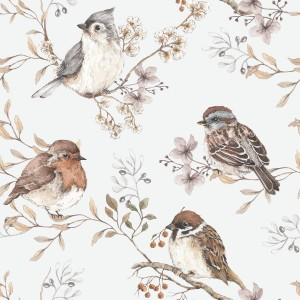 Tapeta Dekornik Birds White-Gray DEKO.TAP.076