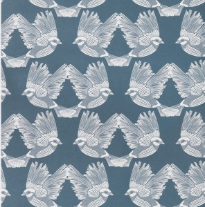 Tapeta Ferm LIVING - Birds Wallpaper - Dark Green / Off-white 183 Ptaki